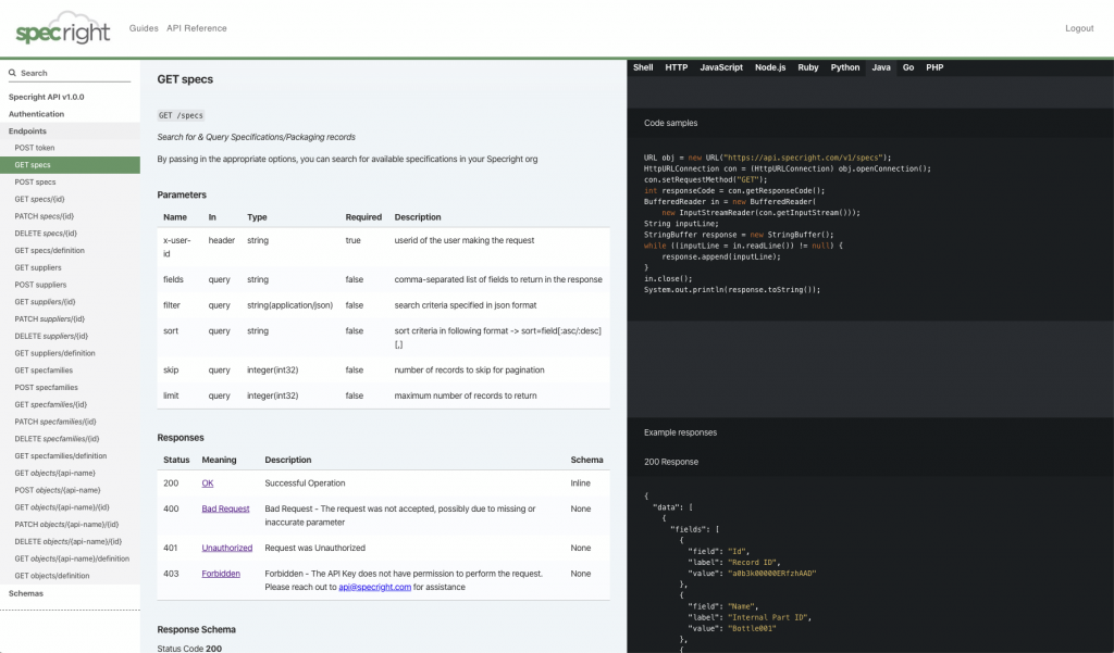 Specright API & Developer Portal