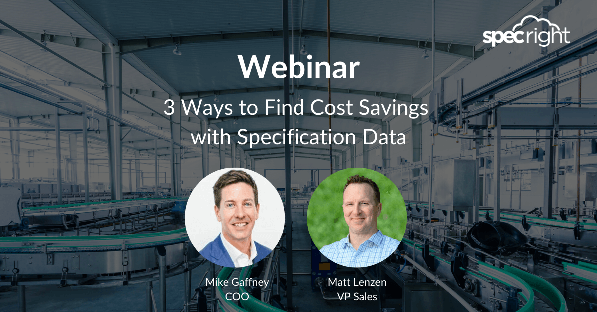Webinar Cost Savings with Specification Data