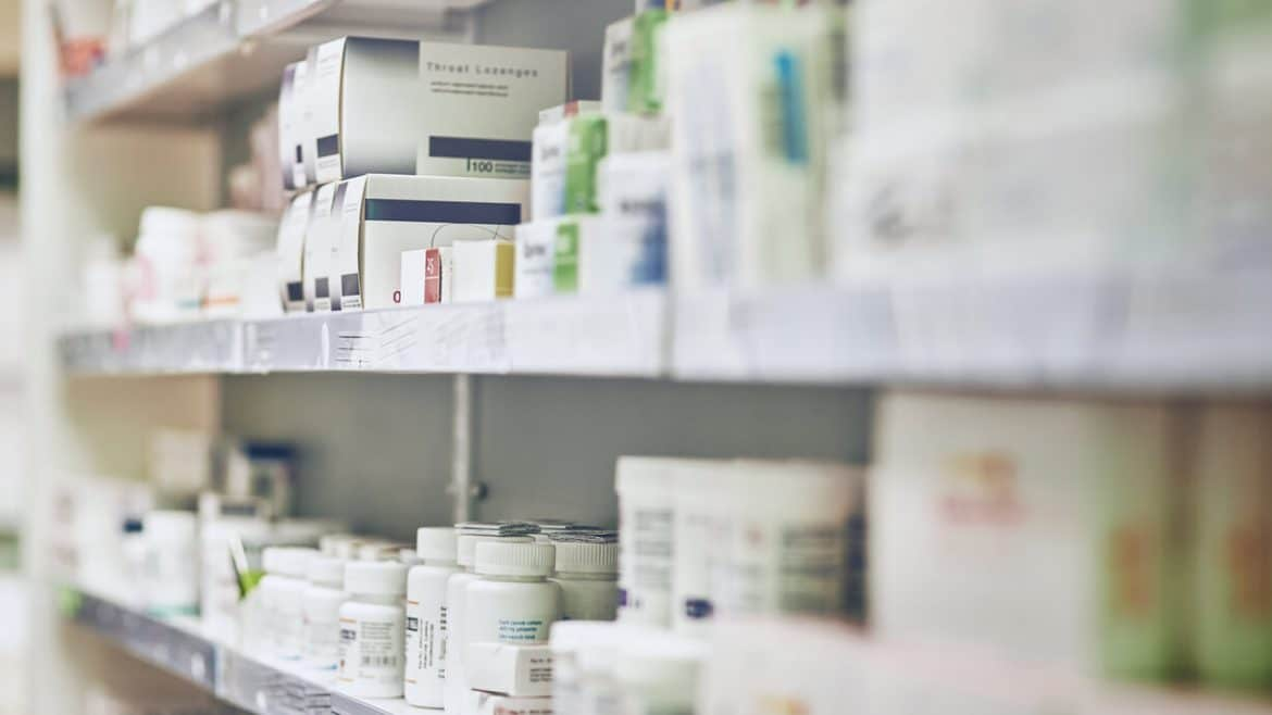 pharmaceutical products on shelves